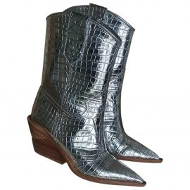 Fendi Cowboy Silver Leather Ankle boots for Women
