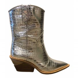 Fendi Cowboy Silver Leather Boots for Women