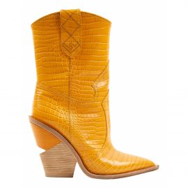 Fendi Cowboy Yellow Leather Boots for Women