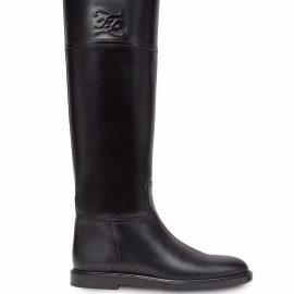 Fendi Karligraphy knee-high leather boots - Black