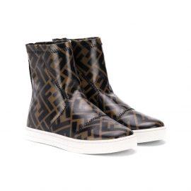 Fendi Kids FF logo-print boots - Brown