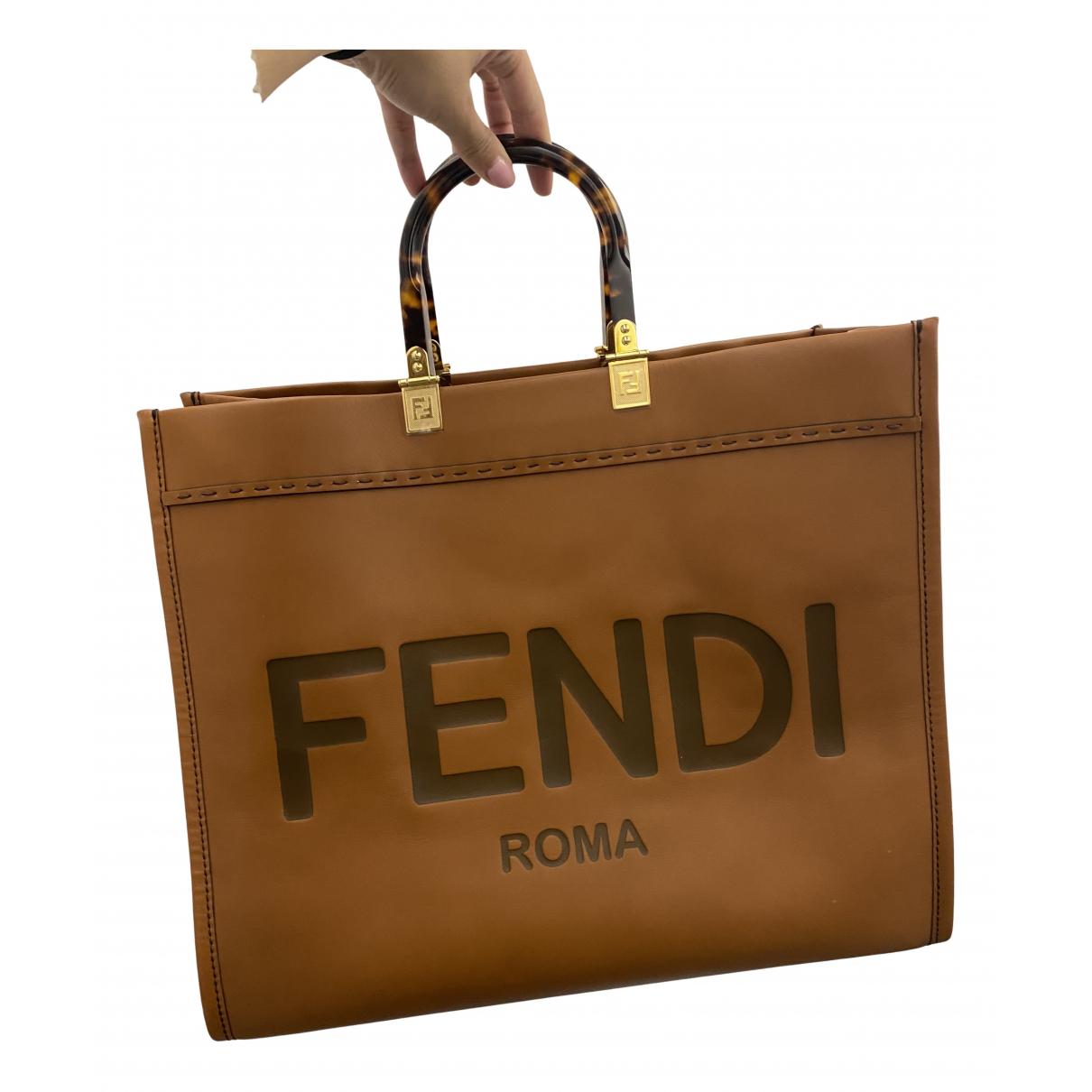 Fendi Logo Shopper Tote Brown Leather Handbag for Women