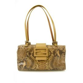 Fendi Python Leather Box Bag Shoulder Evening Handbag Purse, Nude & Neutrals