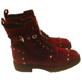 Fendi Velvet biker boots
