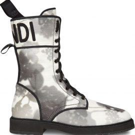 Fendi floral-print logo ankle boots - White
