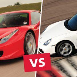 Ferrari 458 versus Porsche Driving at Thruxton