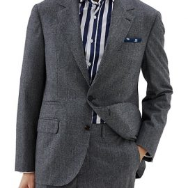 Flanel Houndstooth Wool Suit Jacket