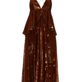 Françoise - Peplum-waist Tinsel-velvet Midi Dress - Womens - Brown