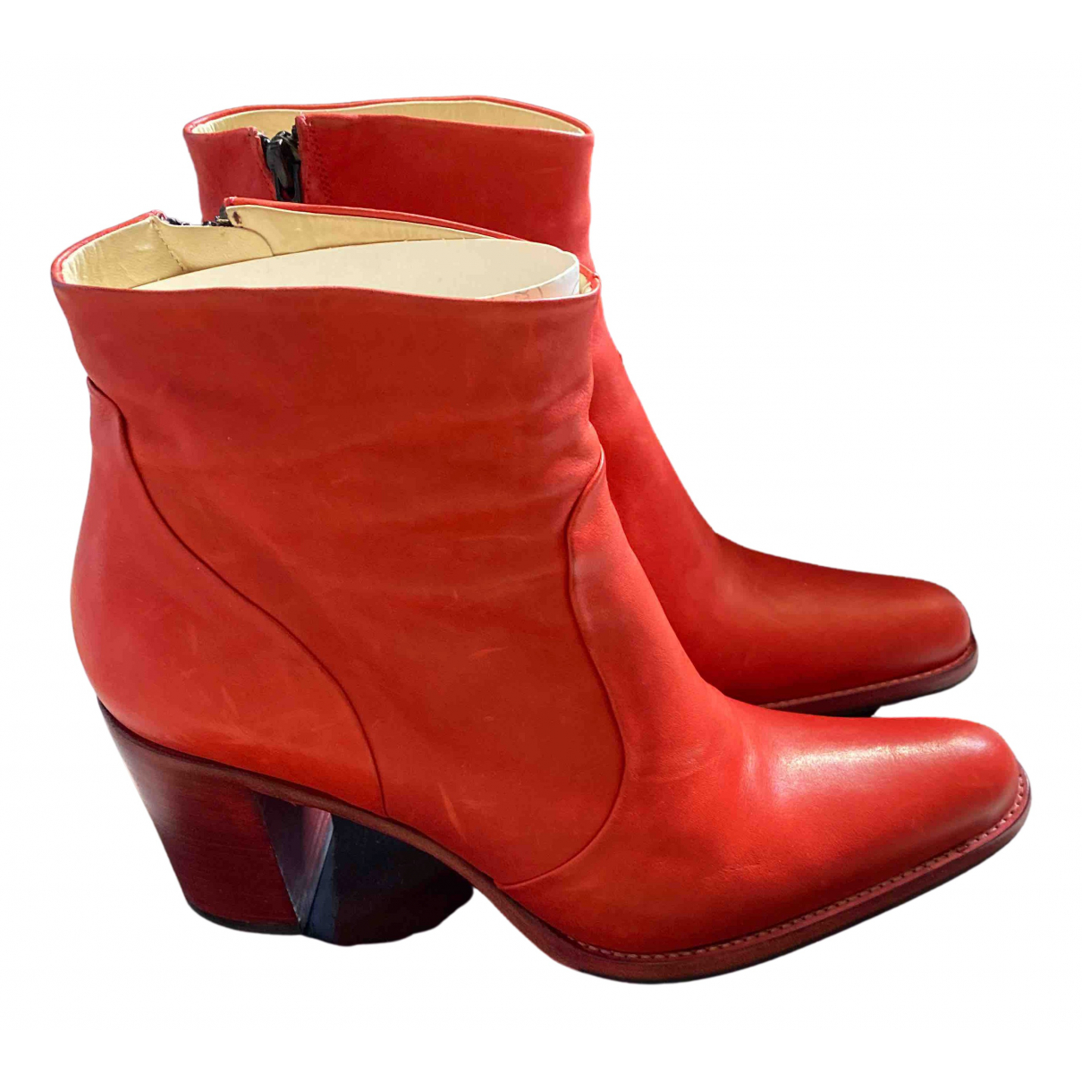 Free Lance N Red Leather Ankle boots for Women