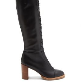 Gabriela Hearst - Pat Lace-up Knee-high Leather Boots - Womens - Black