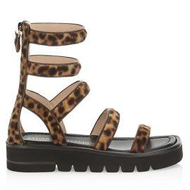 Gala Lift Leopard-Print Calf Hair Gladiator Sandals