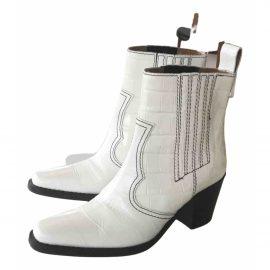 Ganni Leather cowboy boots