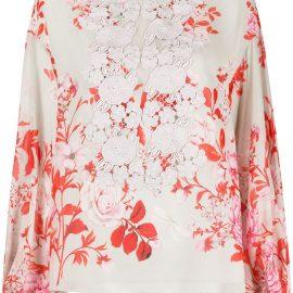 Giambattista Valli floral-print silk blouse - Grey