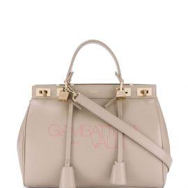 Giambattista Valli logo print leather tote bag - Neutrals