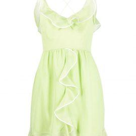 Giambattista Valli ruffle-trim silk mini dress - Green