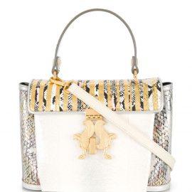 Giancarlo Petriglia snakeskin-print logo tote bag - White