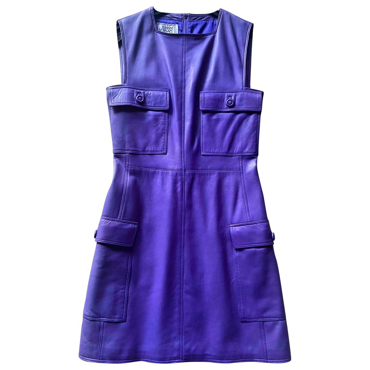 Gianni Versace N Purple Leather Dress for Women