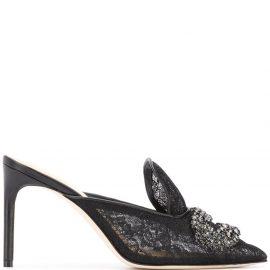 Giannico Daphne lace mules - Black