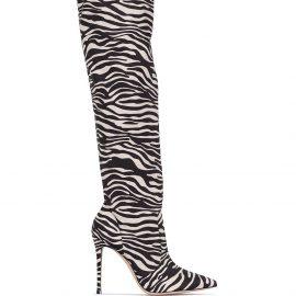 Gianvito Rossi 115mm zebra-print knee-high boots - Brown