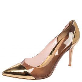 Gianvito Rossi Gold Leather And PVC Plexi Pumps Size 40.5