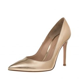Gianvito Rossi Gold Leather Gianvito 105 Pointed Toe Pumps Size 37.5
