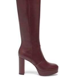 Gianvito Rossi - Platform Leather Knee-high Boots - Womens - Burgundy