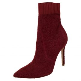 Gianvito Rossi Red Knit Fabric Sock Ankle Boots Size 40