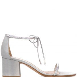 Gianvito Rossi embellished mid-heel sandals - SILVER