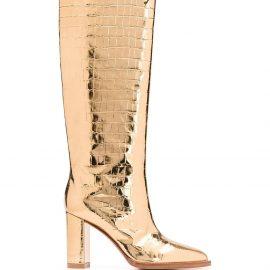 Gianvito Rossi metallic knee-high boots - GOLD