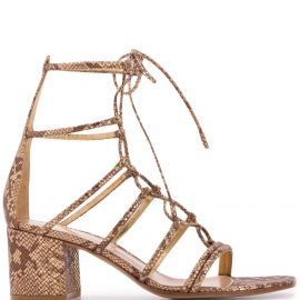 Gianvito Rossi snakeskin-effect 70mm lace-up sandals - GOLD