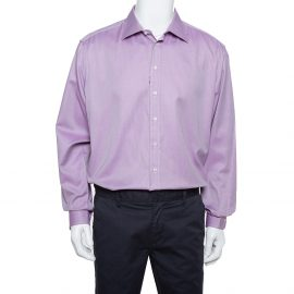 Giorgio Armani Purple Rope Striped Cotton Button Front Shirt 3XL