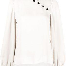 Giorgio Armani asymmetric buttoned silk blouse - Grey