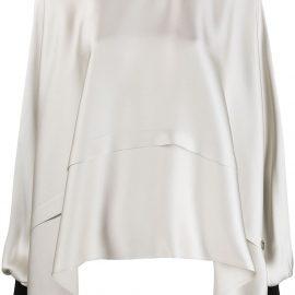 Giorgio Armani balloon-sleeve draped silk blouse - Neutrals