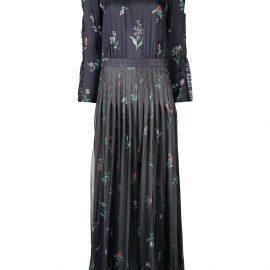 Giorgio Armani printed long pleated dress - Blue