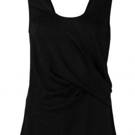 Giorgio Armani twist silk sleeveless blouse - Black