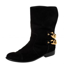 Giuseppe Zanotti Black Suede Gold Chain Link Ankle Length Boots Size 40
