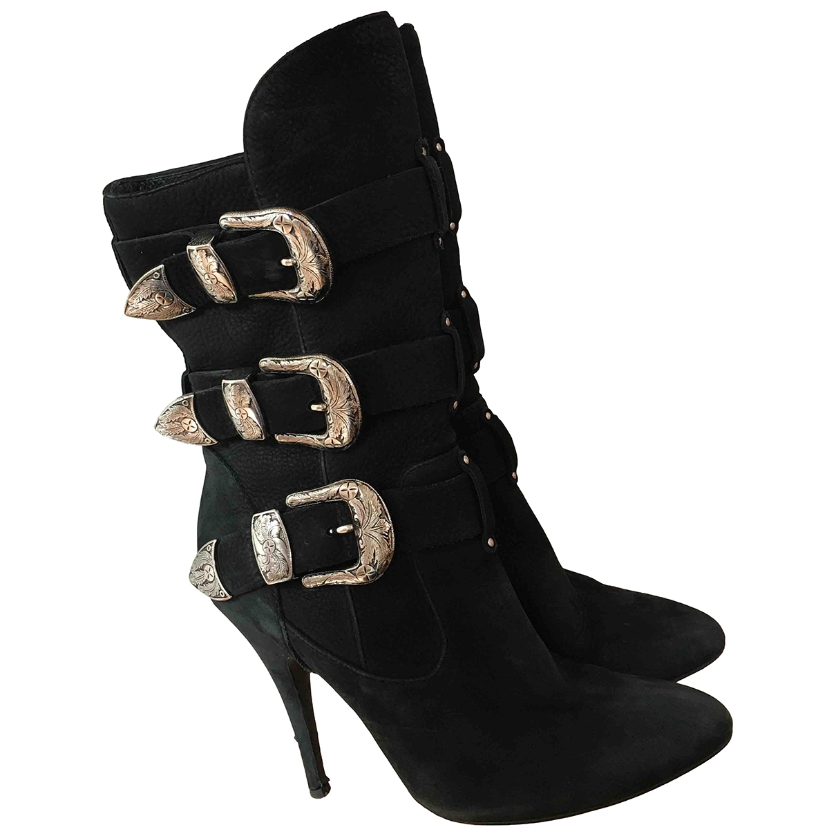 Giuseppe Zanotti X Balmain N Black Leather Ankle boots for Women