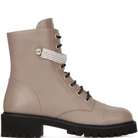 Giuseppe Zanotti crystal-strap hiking boots - Neutrals