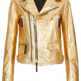 Giuseppe Zanotti metallic biker jacket - Gold