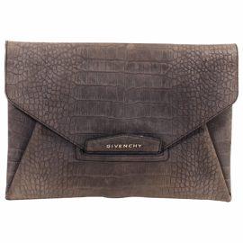 Givenchy Antigona Grey Leather Clutch Bag for Women
