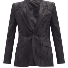 Givenchy - Beaded Abstract-jacquard Single-breasted Blazer - Mens - Black