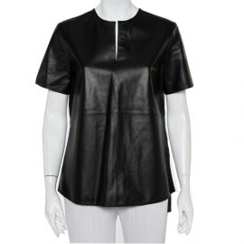 Givenchy Black Leather Short Sleeve Top M