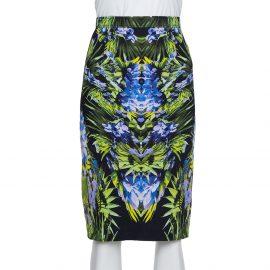 Givenchy Black Printed Crepe Knee Length Skirt M