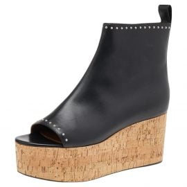 Givenchy Black Studded Leather Cork Wedge Open Toe Ankle Booties Size 37