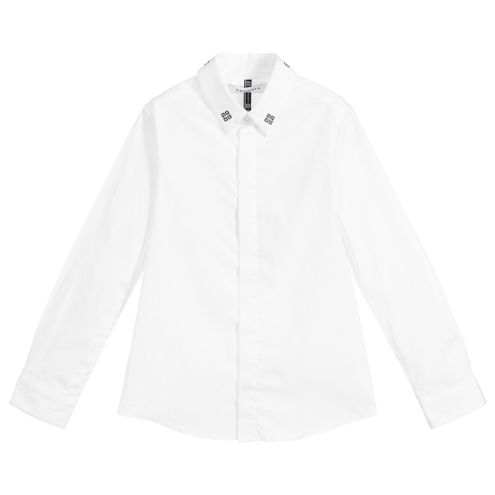 Givenchy Kids Long Sleeve Collar Logo Shirt Colour: WHITE, Size: 10 YEARS