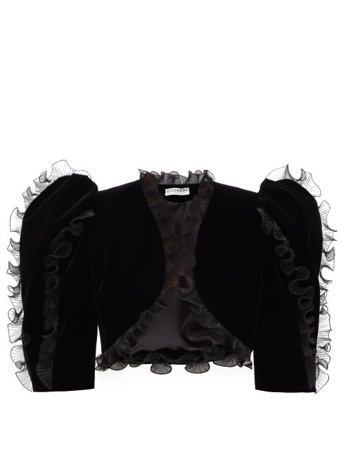 Givenchy - Plissé Ruffled Velvet Bolero Jacket - Womens - Black