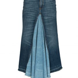 Givenchy contrast panel denim midi skirt - Blue
