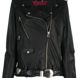 Golden Goose belted biker jacket - Black