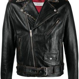 Golden Goose belted waist biker jacket - Black