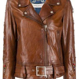 Golden Goose embellished biker jacket - Brown